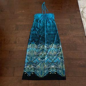 Turquoise Aqua Maxi Dress Halter Tie